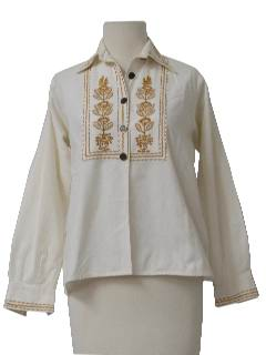 1960's Womens Embroidered Hippie Shirt