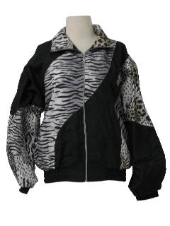1990's Womens Wicked 90s Animal Print Hip Hop Style Windbreaker Jacket