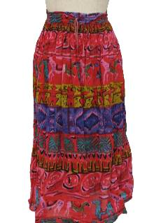 1980's Womens Hippie Broomstick Skirt