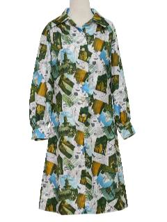 1970's Womens Photoprint Mod Dress
