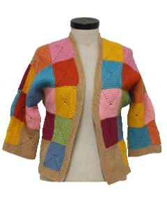 1970's Womens Crocheted Hippie Sweater Jacket