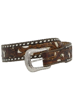 1970's Womens Accessories - Tooled Leather Western Belt