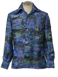 1970's Mens Van Gogh Print Disco Shirt