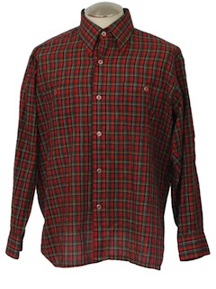 1970's Mens Classic Plaid Shirt
