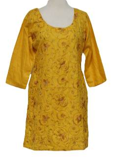 1990's Womens Salwar Kameez Ethnic Hippie Dress or Tunic Top