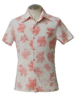 1980's Mens Print Disco Style Sport Shirt