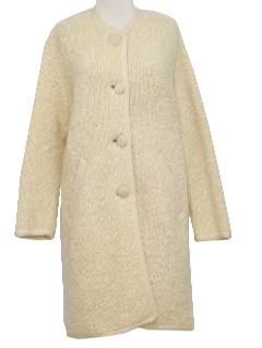 1970's Womens Designer Mod Boucle Knit Duster Coat Jacket