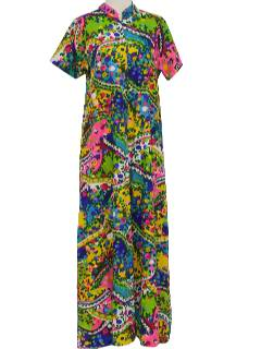 1960's Womens Pow-Flower Maxi Lounge  Dress