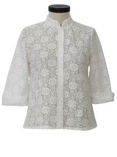 1960's Womens Mod Frilly Ruffle Lace Shirt