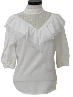 1970's Womens Ruffled Frilly Prairie Shirt