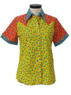 1970's Womens Mod Pow-Flower Hippie Western Shirt