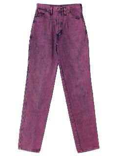 1980's Womens Totally 80s Acid Washed Overdyed Jeans Pants
