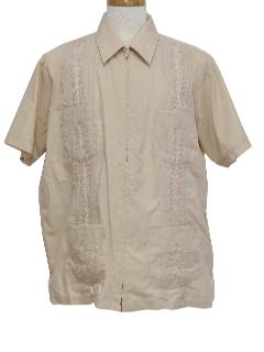 1980's Mens Guayabera Zip Shirt
