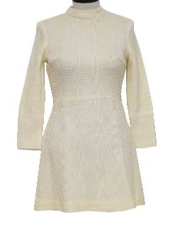 1970's Womens Wool Mod Mini Go-Go Style Dress