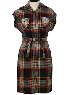 1960's Womens Pendleton Wool  Mod Dress