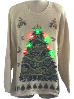 1980's Unisex Light-Up Red Green 3-Function Flashing Lights Ugly Christmas Sweater