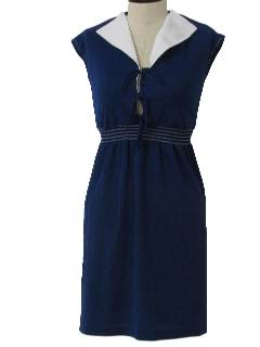 1970's Womens Knit Sailor Dress