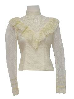 1970's Womens/Girls Frilly Lacey Victorian Style Shirt