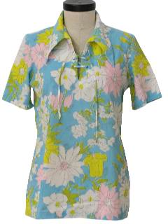 1970's Womens Mod Pow-Flower Hippie Shirt