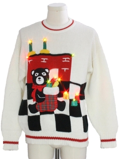 1980's Unisex Vintage Totally 80s Bear-riffic Lightup Ugly Christmas Sweater
