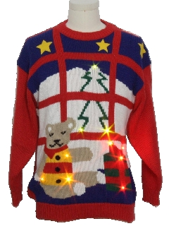 1980's Unisex Vintage Bear-riffic Lightup Ugly Christmas Sweater