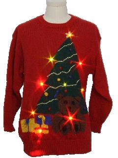 1980's Unisex Totally 80s Lightup Ugly Christmas Sweater