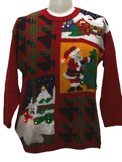 1980's Unisex Cat-Tastic Lightup Hideously Ugly Christmas Sweater