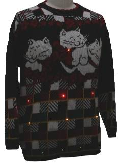 1980's Unisex Totally 80s Lightup Cat-Tastic Ugly Christmas Sweater