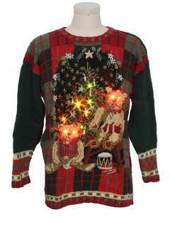 1980's Unisex Lightup Creepy Bears Ugly Christmas Sweater