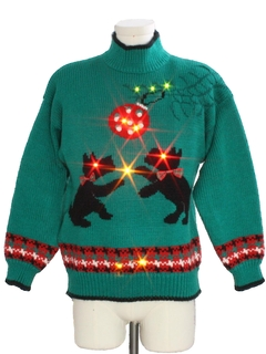 1980's Unisex Vintage Multicolored Lightup Dog-Gonnit Ugly Christmas Sweater