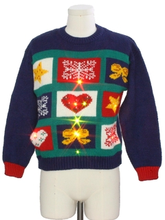 1980's Womens Vintage Totally 80s Lightup Country Kitsch Ugly Christmas Sweater