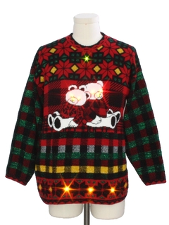 1980's Unisex Vintage Multicolored Lightup Totally 80s Bear-Riffic Ugly Christmas Sweater