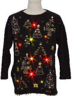 1980's Womens Lightup Ugly Christmas Cocktail Sweater