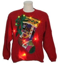 1980's Womens Country Kitsch Style Lightup Ugly Christmas Sweater