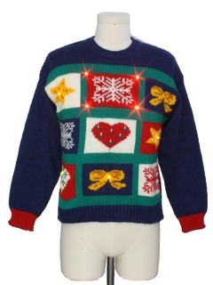 1980's Womens Vintage Country Kitsch Style Lightup Totally 80s Ugly Christmas Sweater