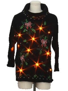 1980's Womens Lightup Oversized Slouch Fit Ugly Christmas Cocktail Sweater
