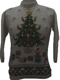 1980's Womens Lightup Country Kitsch Style Ugly Christmas Sweater