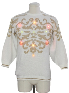 1980's Womens Vintage Multicolor Lightup Ugly Christmas Sweater