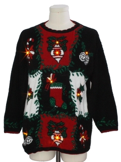 1980's Unisex Vintage Amber Lightup Ugly Christmas Sweater