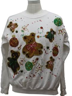 1980's Unisex Totally 80s Bear-riffic Ugly Christmas Sweatshirt