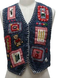 1980's Womens Kitschy Ugly Sweater Vest