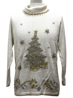 1980's Womens Beaded Oversized Slouch Fit Ugly Christmas Cocktail Sweater