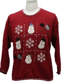 1980's Unisex Tic-Tack-Snowman Ugly Christmas Sweater