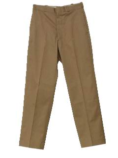 1960's Mens Flat Front Military Issue Khaki Pants