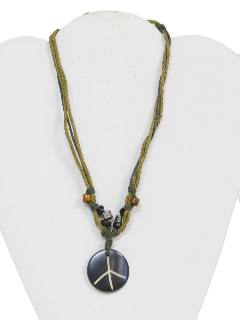1970's Unisex Accessories - Jewelry Peace Medallion Necklace