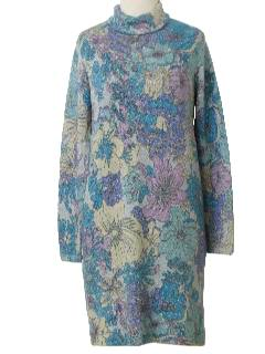 1970's Womens Mod Floral Wool Dress