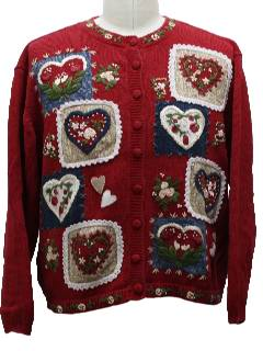 1980's Womens Country Kitsch Valentines Day Cheesy Sweater