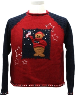 1980's Womens Patriotic Bear Ugly Christmas Sweater