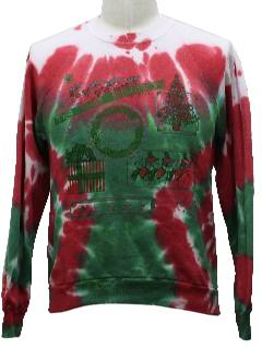 1980's Unisex Totally 80s Tie Dyed Ugly Christmas Sweatshirt