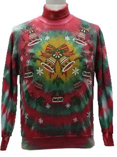 1980's Unisex Tie-Dyed Totally 80s Ugly Christmas Sweatshirt